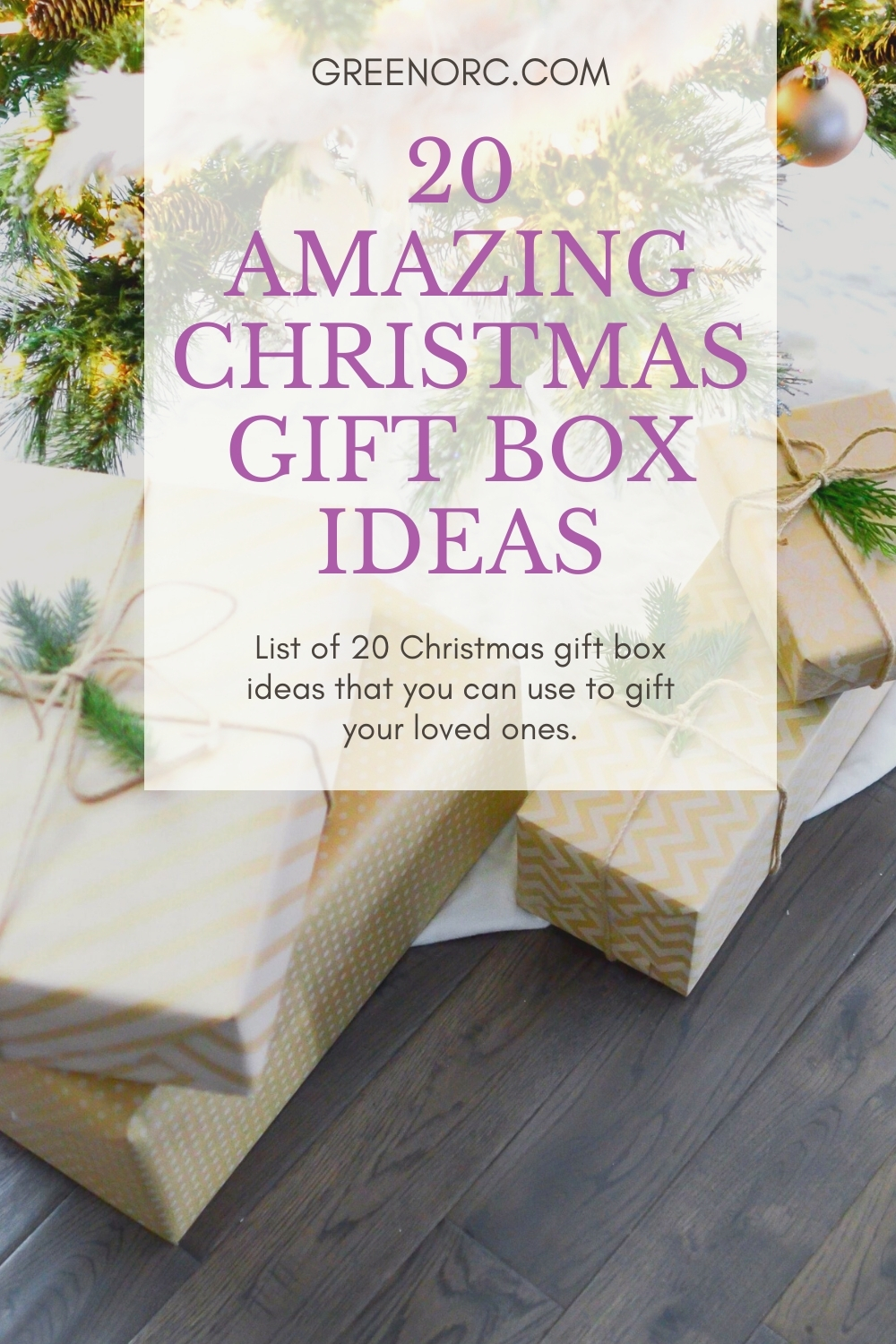 Christmas decorations with wrapped gift boxes