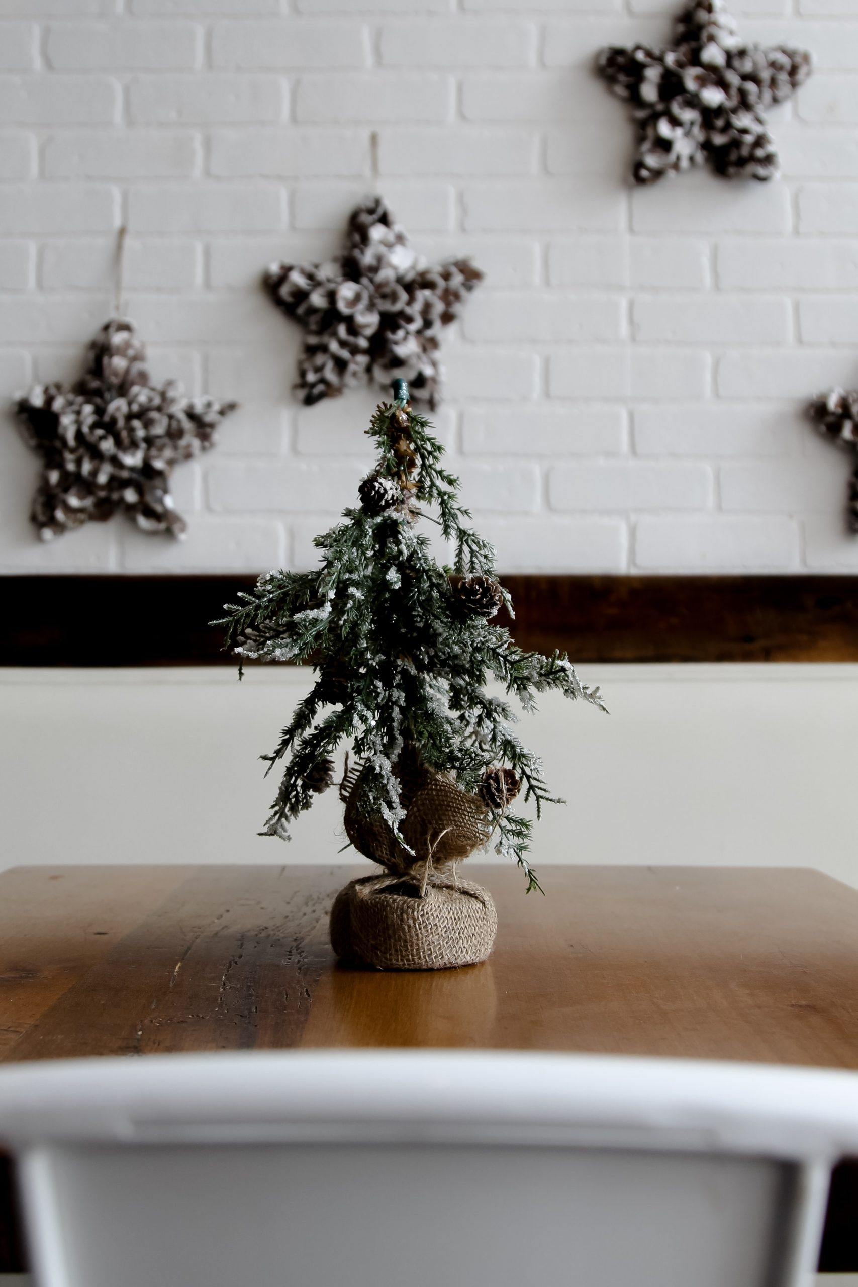 A handcrafted Christmas tree that's small in size, made using commonly found materials at home.