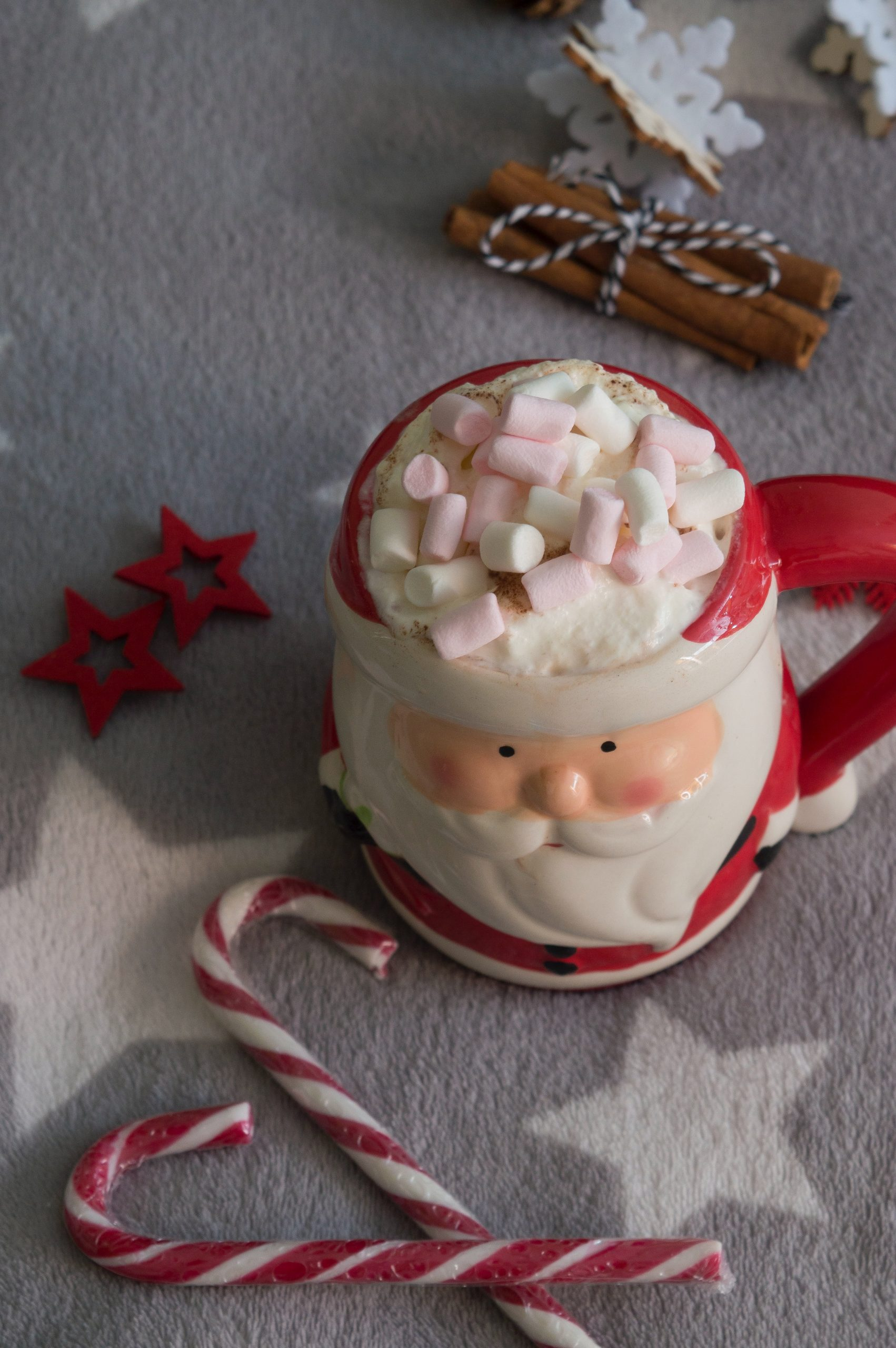 Santa Claus mug full of hot chocolate and marshmallows