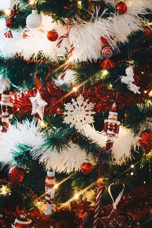 Red and white holiday decorations hanging from a Christmas tree.
