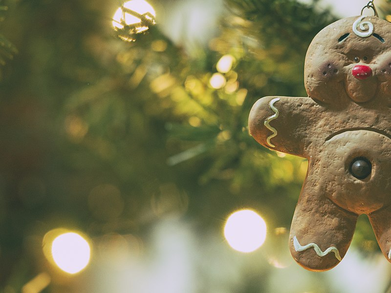 A gingerbread man used as a decorative element to spice up the look of a Christmas tree.