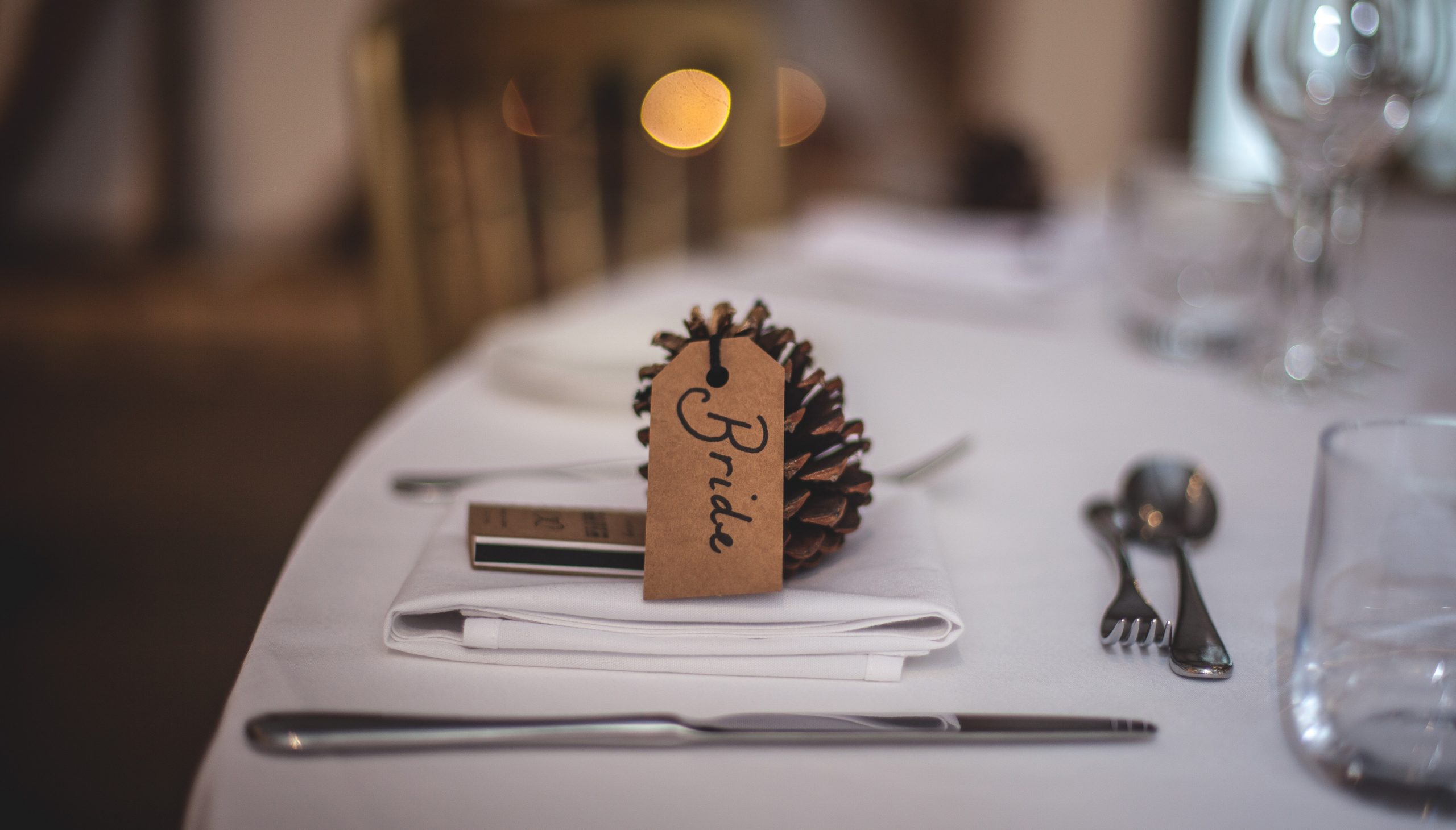 A themed place card at a wedding