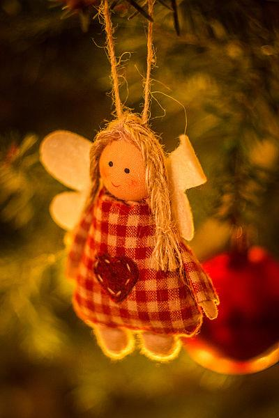 Buffalo plaid ornament of an angel