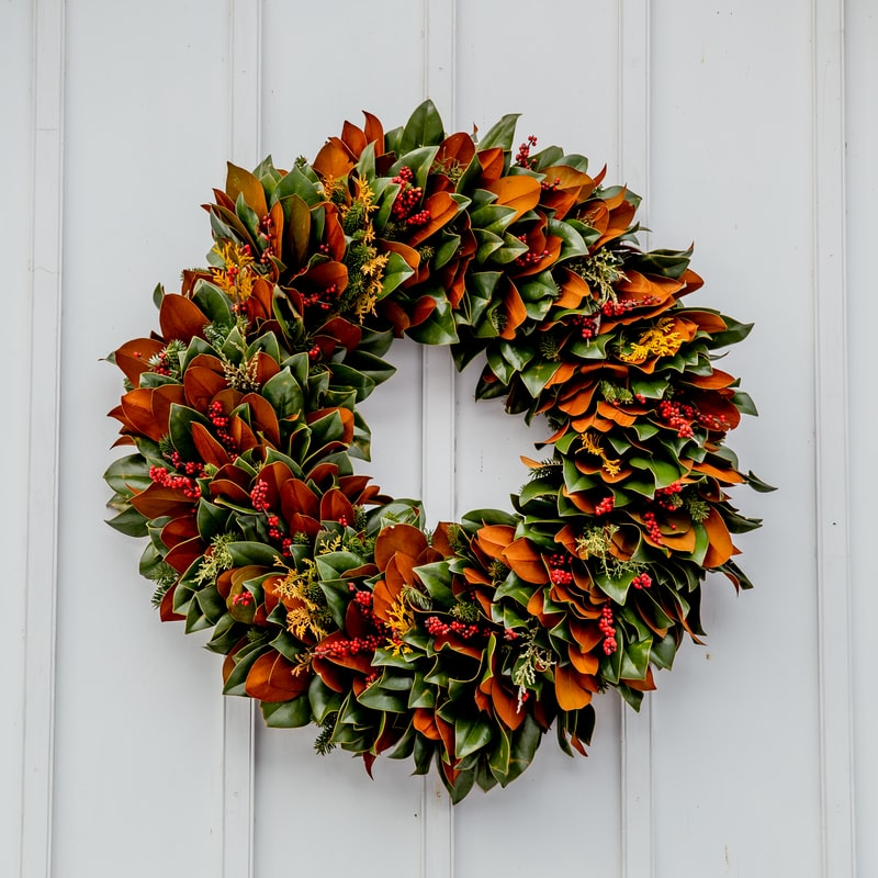 Beautiful green leaves wreath for Christmas