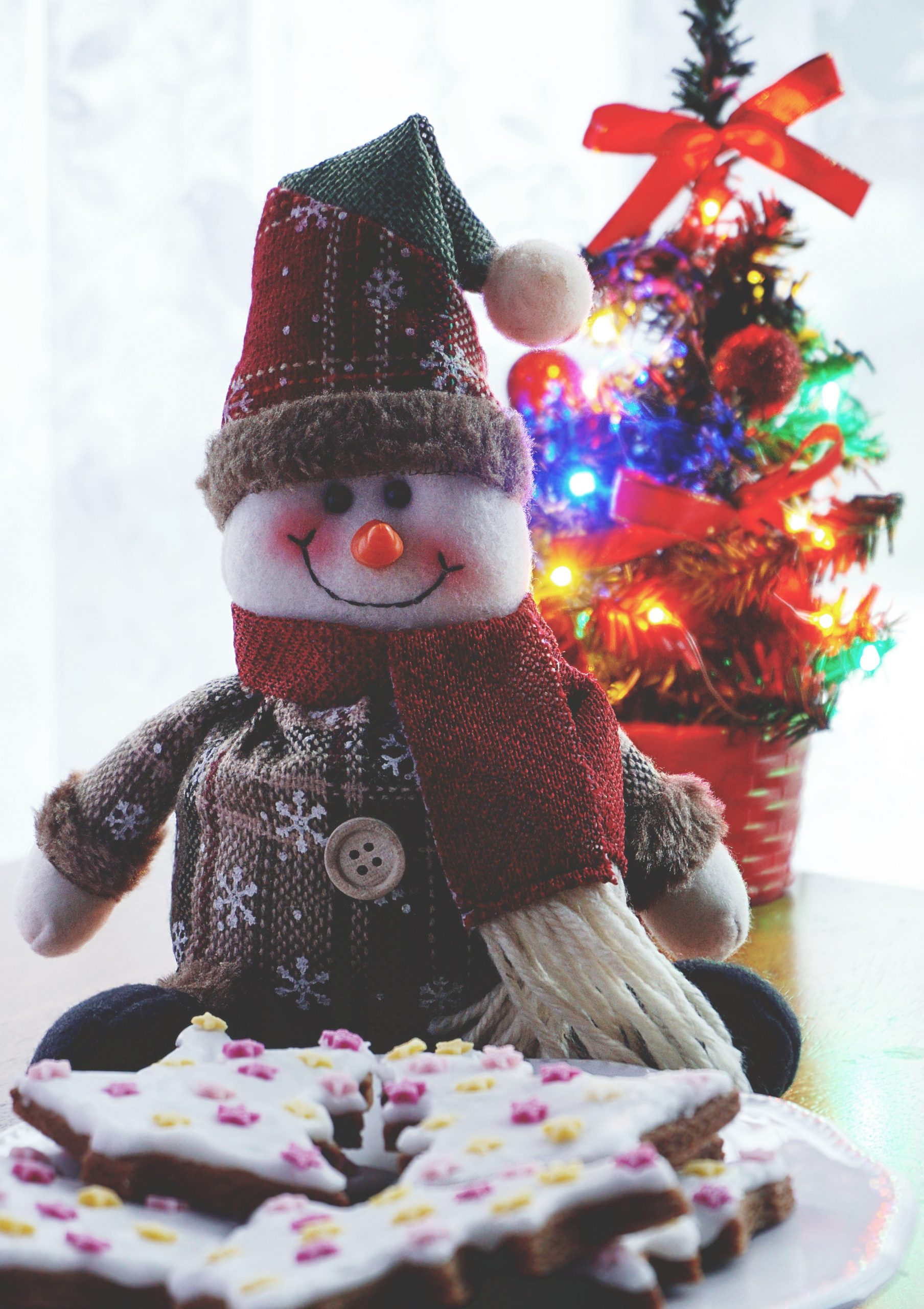 An iPhone wallpaper of a dressed up snowman with a hat and shawl