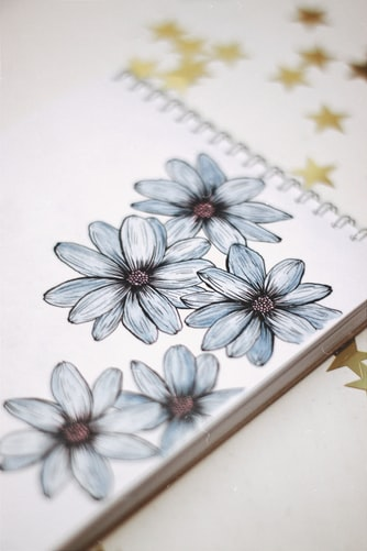 The page of a journal that has five white flowers drawn and golden stars set against a white background