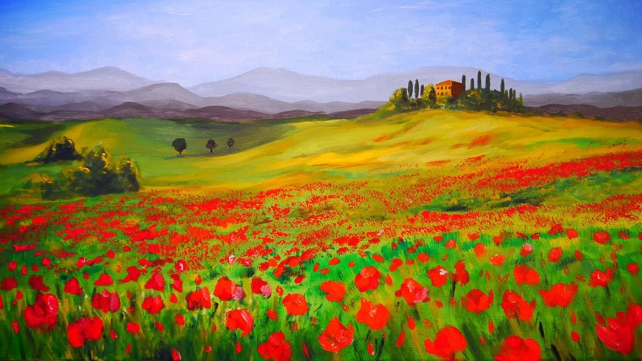 Painting showing red flowers, far away from trees, castle, and hills