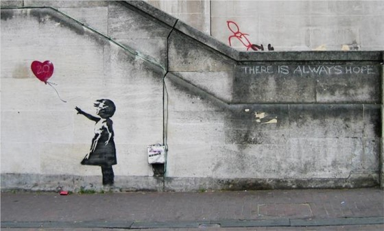 The world-famous 'Girl with Balloon' street art made by Banksy.