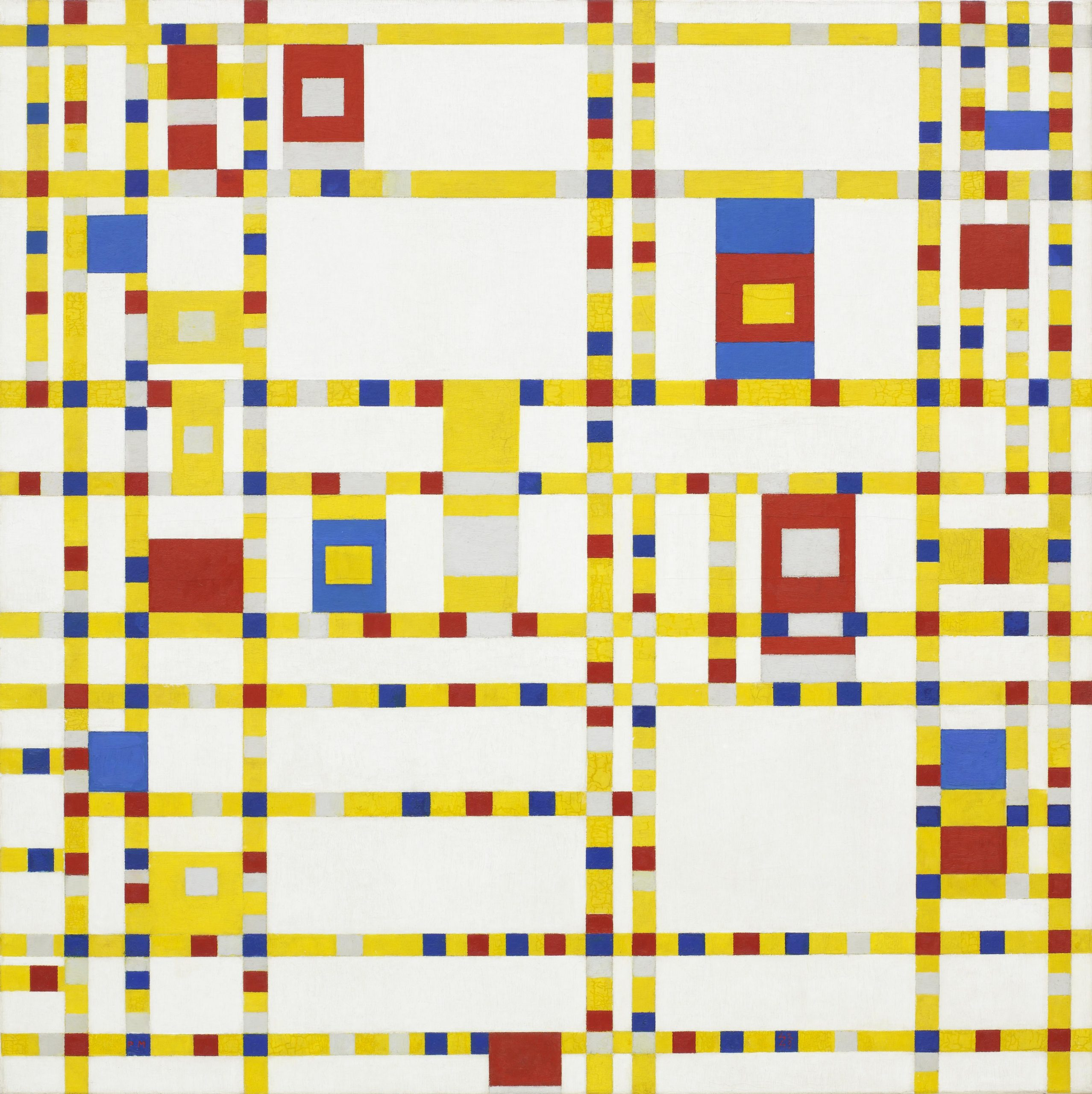 Broadway Boogie Woogie is a mathematical artistic work by Piet Mondrian that uses basic structures like the straight lines, and fundamental tones.