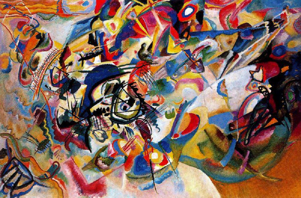 The abstract painting Composition VII, one of the best works by Wassily Kandinsky.