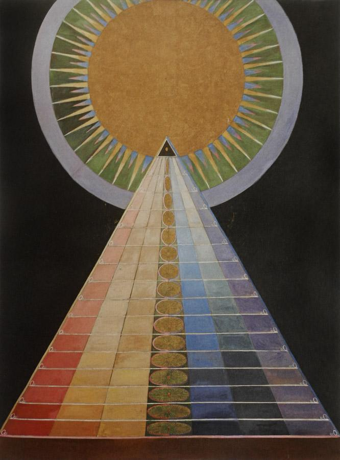 the abstract painting Group X, altarpiece 1 by Hilma Af Klint representing the feminine power and many abstract concepts in its mix.