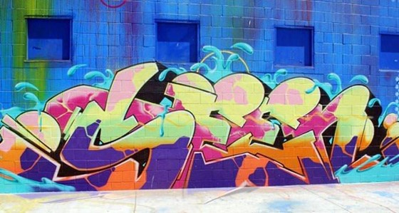 The jazzy text graffiti made by Seen (UA) in Los Angeles
