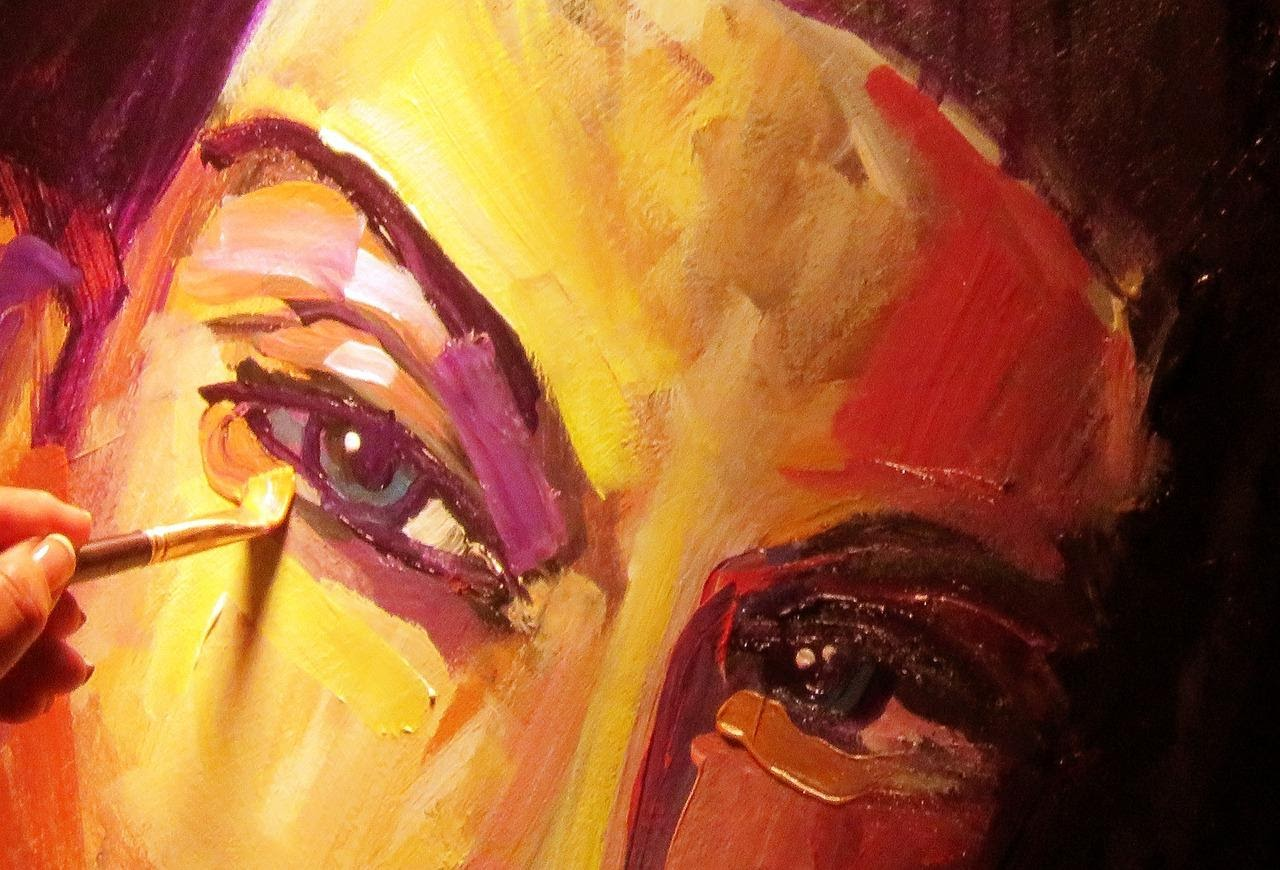 Beautiful close-up painting of the eyes of a person, with a brushstroke depicting that it is a painting