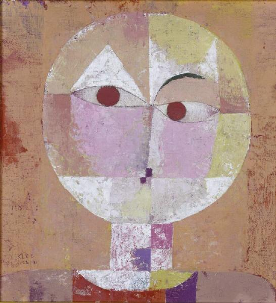 the painting called 'Senecio' by Paul Klee, completed in 1922. It represents a distorted face, made using the most basic of shapes.