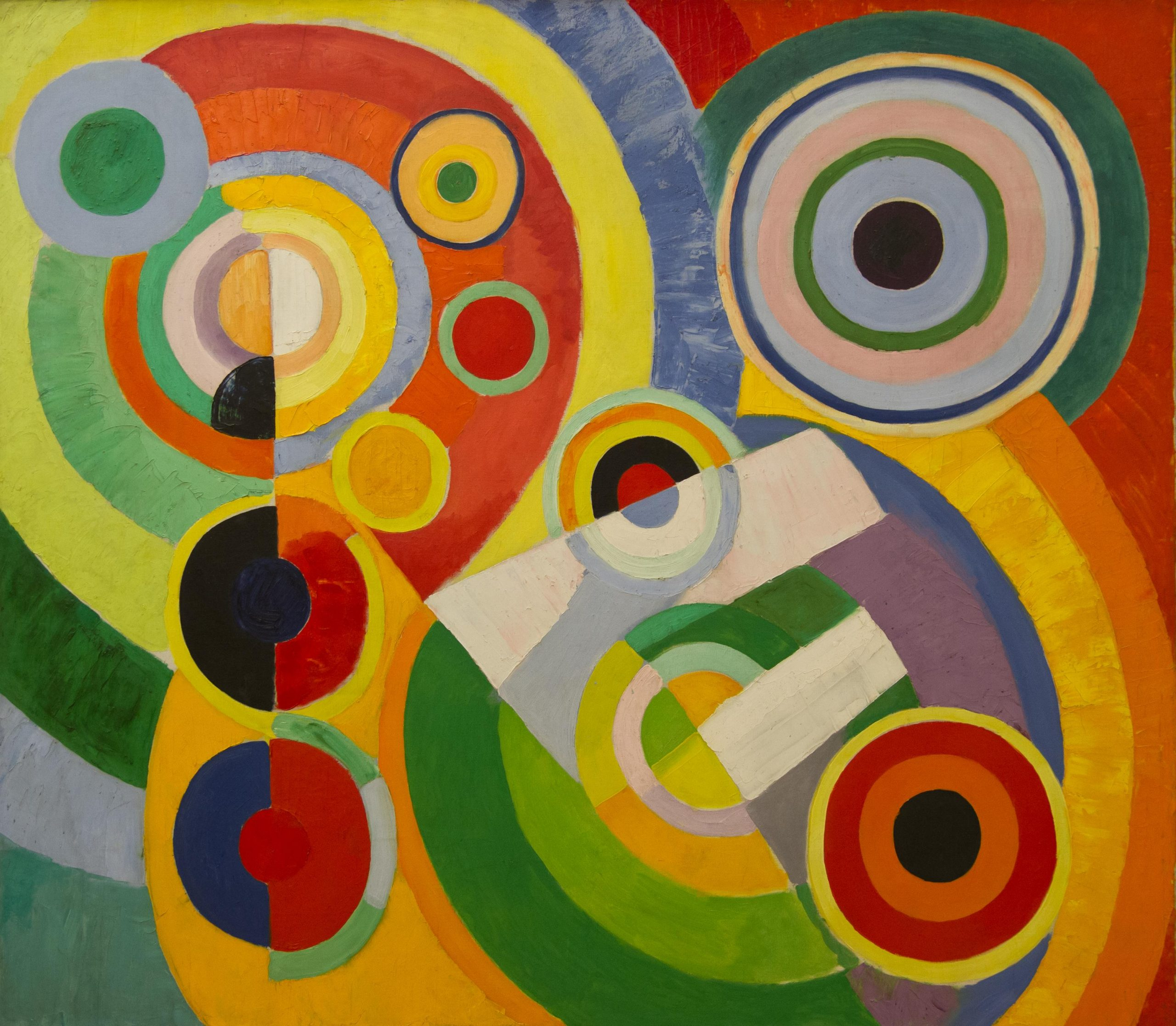 Rythme, Joie De Vivre is an abstract painting that represents the artist's pictorial language that conveys shadings through concurrent differentiation.