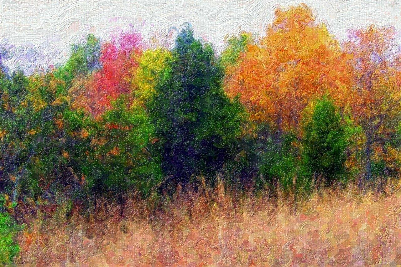 Different trees are painted with different paint colors in an abstract manner