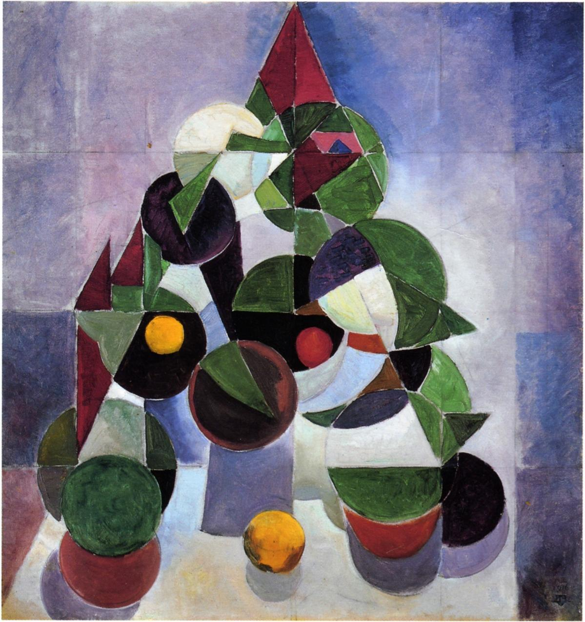 Composition 1, by Theo Van Doesburg made in 1916, following the fundamentals of neoplasticism.